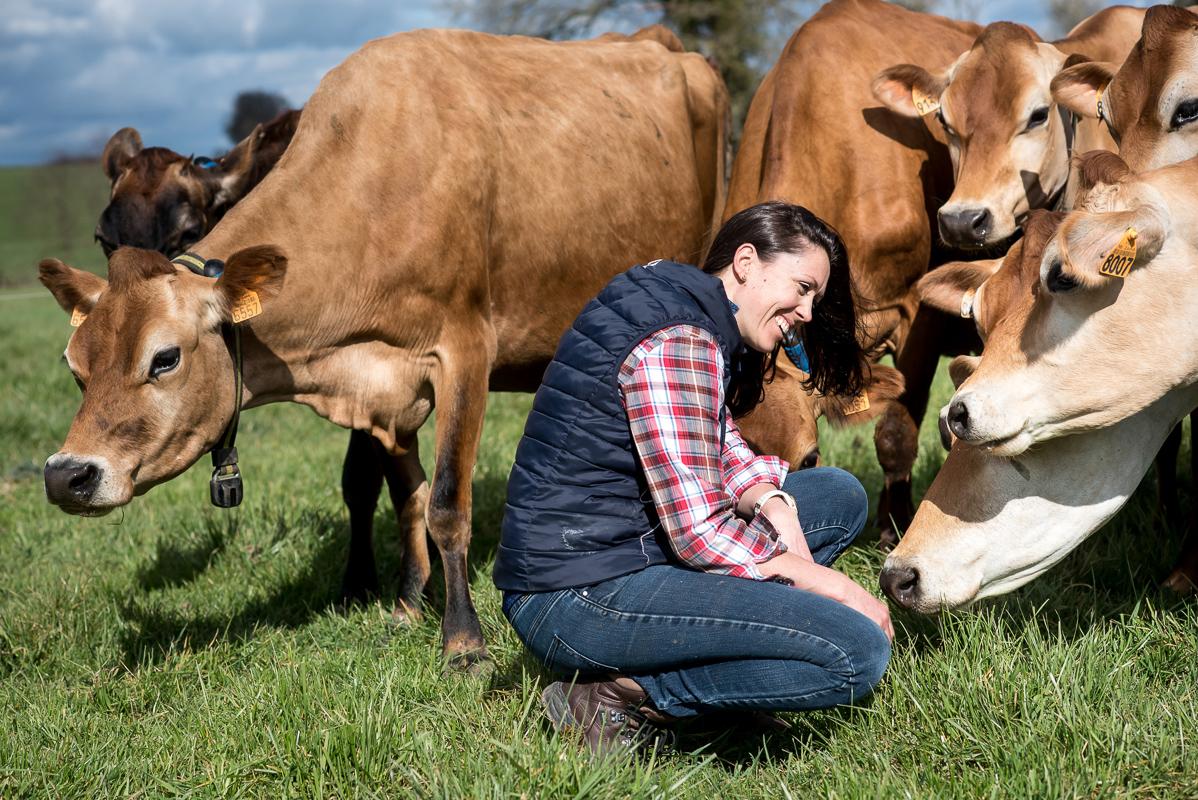 Eleveur accroupie et souriante dans le pré avec cinq vaches jersey autour d'elle
